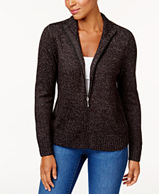 Karen Scott Petite Zip-Front Cardigan Sweater, Created for Macy's