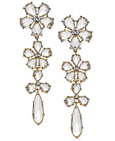 kate spade new york 14k Gold-Plated Crystal Flower Linear Drop Earrings