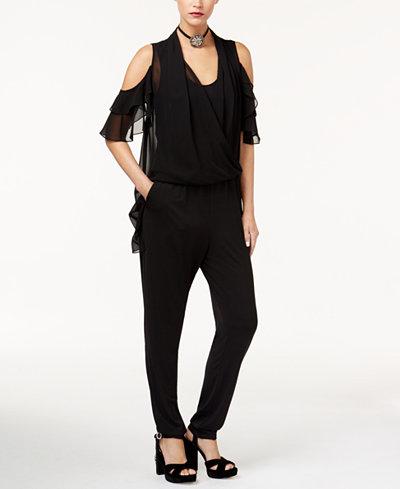 KOBI Cold-Shoulder Wrap-Front Jumpsuit, Created for Macy's