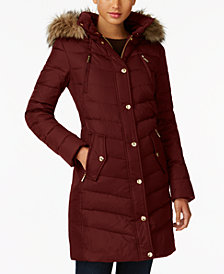 MICHAEL Michael Kors Faux-Fur-Trim Down Coat, Created for Macy's