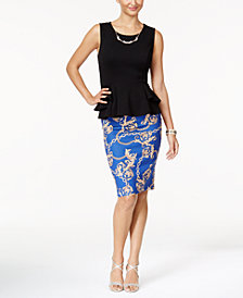 Thalia Sodi Peplum Top & Printed Pencil Skirt, Created for Macy's