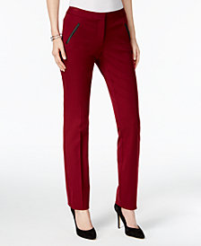 Alfani Faux-Leather-Trim Slim-Leg Pants, Created for Macy's