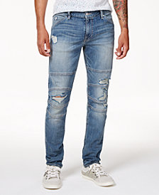 GUESS Men's Slim-Fit Tapered Stretch Destroyed Moto Jeans