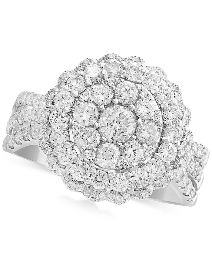EFFY Collection - Diamond Halo Cluster Ring (1-1/3 ct. t.w.) in 14k White or Yellow Gold