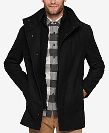 Men's Car Coat with Knit Inset