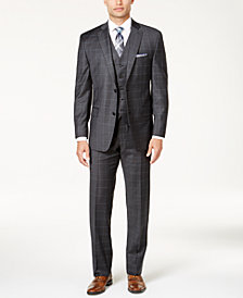 Michael Kors Men's Classic-Fit Dark Gray & Blue Windowpane Vested Suit