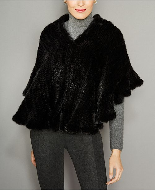 The Fur Vault Ruffled Knitted Mink Fur Stole