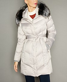Fox-Fur-Trim Hooded Puffer Coat