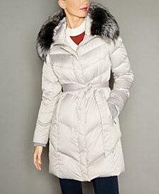 The Fur Vault Fox-Fur-Trim Hooded Puffer Coat