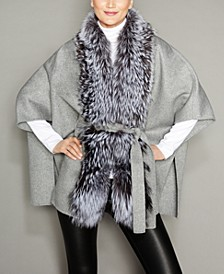 Fox-Fur-Trim Belted Wool Cape