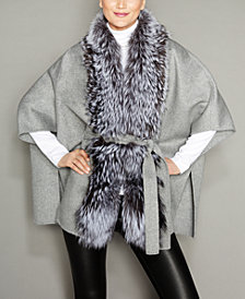 The Fur Vault Fox-Fur-Trim Belted Wool Cape