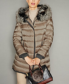The Fur Vault Fox-Fur-Trim Hooded Puffer Coat
