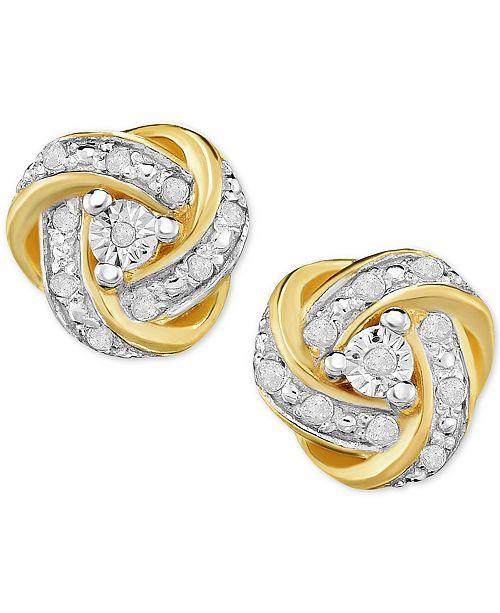 e1c2a34b2 Victoria Townsend Diamond Love Knot Stud Earrings (1/4 ct. t.w.) in ...