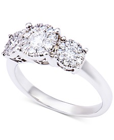 Diamond Three-Stone Halo Ring (1 ct. t.w.) in 14k White Gold