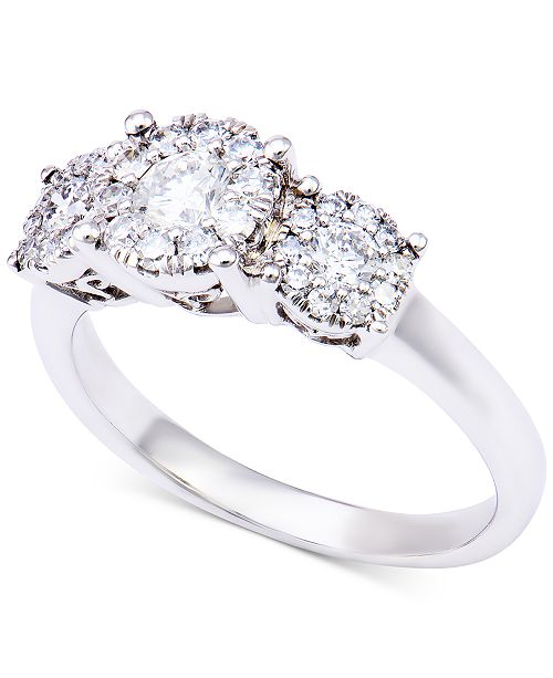 Macy's Diamond Three-Stone Halo Ring (1 ct. t.w.) in 14k White Gold