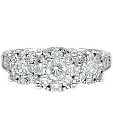 Diamond Cluster Floral Ring (1-1/2 ct. t.w.) in 14k White Gold