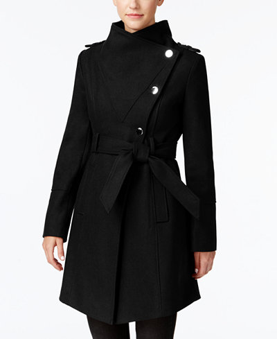 GUESS Asymmetrical Belted Walker Coat