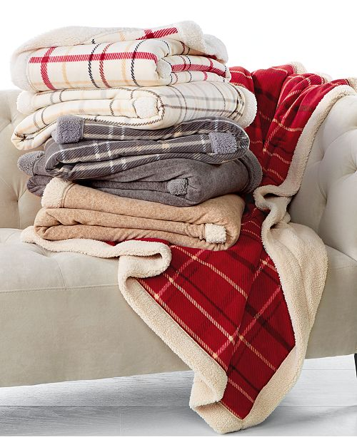 Martha Stewart Collection CLOSEOUT! Classic Reversible Sherpa Throw, Created for Macy's
