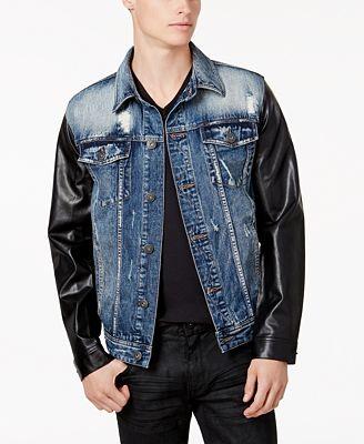 Denim jacket leather sleeves men