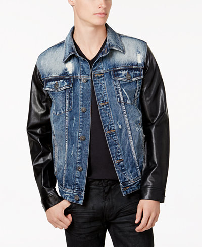 INC International Concepts Men's Denim Jacket With Faux-Leather Sleeves, Created for Macy's