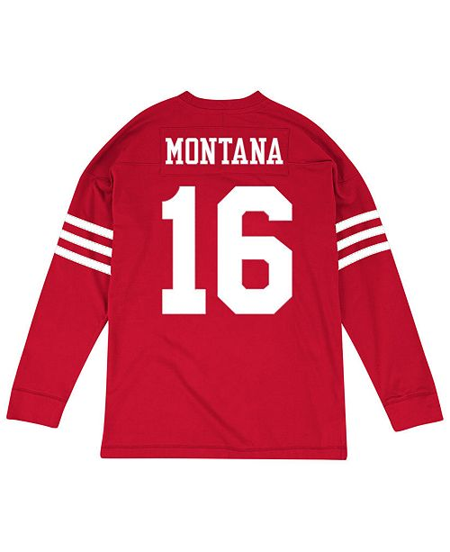 uk availability 0cf80 ca182 Men's Joe Montana San Francisco 49ers Retro Player Name & Numer Longsleeve  T-Shirt