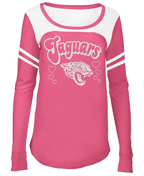 5th & Ocean Jacksonville Jaguars Pink Slub Long Sleeve T-Shirt, Girls (4-16)