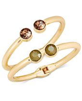 INC International Concepts Gold-Tone 2-Pc. Set Stone Hinged Bangle Bracelets, Created for Macy's