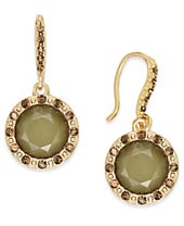 INC International Concepts Gold-Tone Green Stone & Yellow Pavé Drop Earrings, Created for Macy's