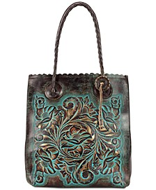 Turquoise Tooled Leather Cavo Tote