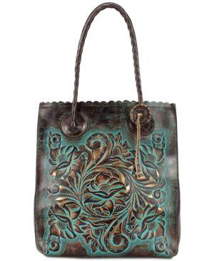 Patricia Nash Turquoise Tooled Cavo Medium Tote 4755609