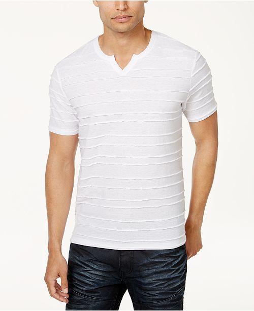 INC International Concepts I.N.C. Men's Split-Neck Textured T-Shirt, Created for Macy's