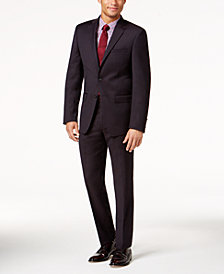 Calvin Klein Men's Slim-Fit Burgundy Textured Suit