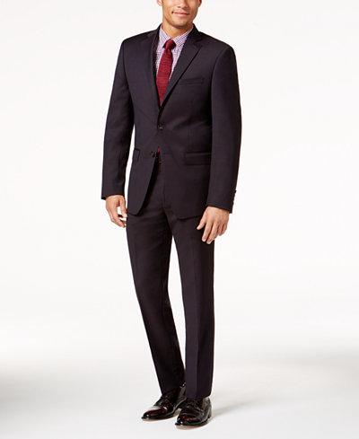 Calvin Klein Men's Slim-Fit Burgundy Textured Suit