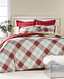CLOSEOUT! Martha Stewart Collection Deer Pond  100% Cotton Plaid Flannel Bedding Collection, Created for Macy's
