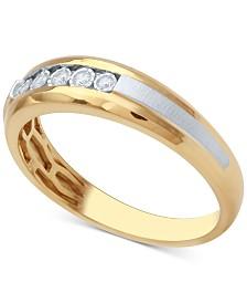 Mens Diamond Two Tone Wedding Band 1 10 Ct Tw In