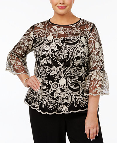 Alex Evenings Plus Size Sheer Embroidered Blouse