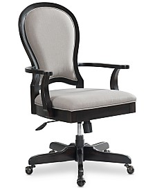 Clinton Hill Ebony Home Office Round Back Upholstered Desk Chair, Created for Macy's