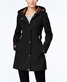 Petite Hooded Softshell Raincoat, Created for Macy's