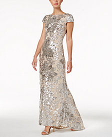 Calvin Klein Embellished Cowl-Back Gown