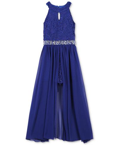 Speechless Lace Maxi Overlay Romper Big Girls Dresses