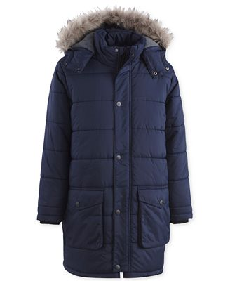 Calvin Klein Snorkel Hooded Puffer Jacket with Faux-Fur Trim, Little Boys
