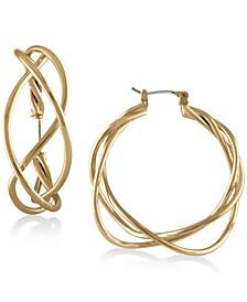 "Gold-Tone Twisted 1-1/2"" Wire Hoop Earrings"