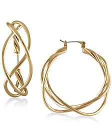 """RACHEL Rachel Roy Gold-Tone Twisted 1-1/2"""" Wire Hoop Earrings"""