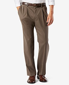Men's Big & Tall Easy Classic Pleated Fit Khaki Stretch Pants