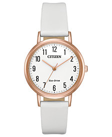 Citizen Eco-Drive Women's White Leather Strap Watch 30mm