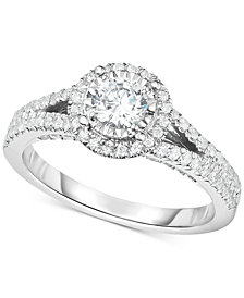 TruMiracle® Diamond Halo Split Shank Engagement Ring (1 ct. t.w.) in 14k White Gold
