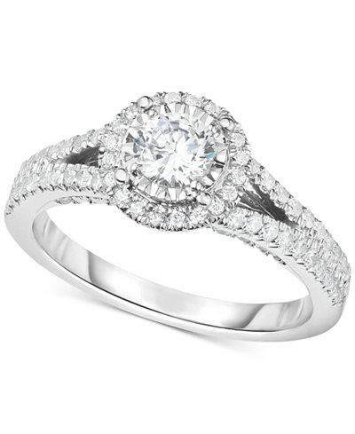 TruMiracleR Diamond Halo Split Shank Engagement Ring 1 Ct Tw In 14k