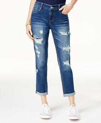 Unionbay Juniors' Margot Ripped Cropped Boyfriend Jeans - Juniors ...