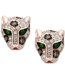 Signature by EFFY® Diamond (1/3 ct. t.w.) & Tsavorite Accent Panther Stud Earrings in 14k Rose Gold