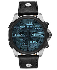 Diesel ON Men's Full Guard Black Leather Strap Smart Watch 48mm